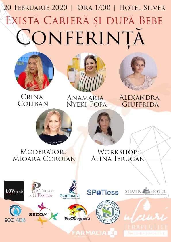"""Afis - Conferinta """"Exista cariera dupa bebe"""", Oradea, Hotel Silver, 20 februarie 2020, ora 17:00"""